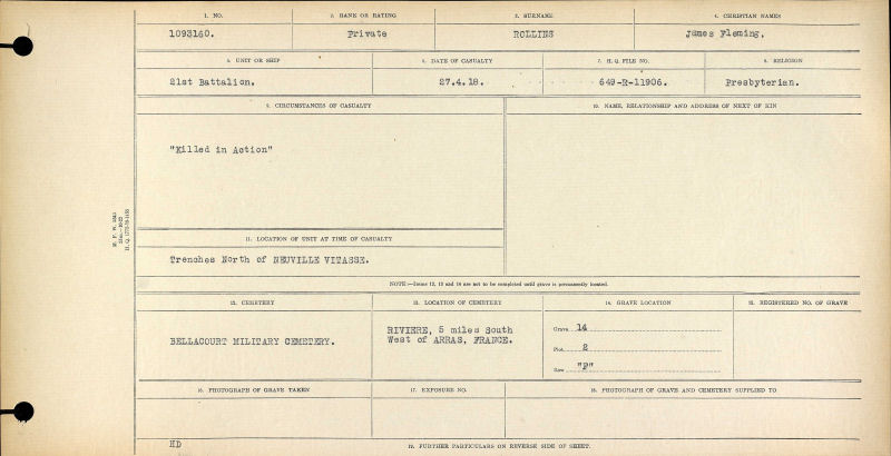 Circumstances of Casualty - Canadian War Graves Registry