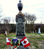 Memorial– Tombstone at Moira Cemetery - Hwy 62 just south of Madoc, Ontario, Canada.