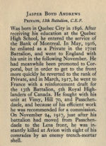 Biography– Bio from Memorial from the Great War 1914-1918: a record of service  published by the Bank of Montreal 1921; now found on http://www.archive.org/details/memorialofgreatw00bankuoft