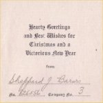 Christmas Card– Outside of undated Christmas card sent by Sheppard J. Barwis of the 143rd Battalion.