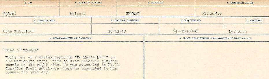 Circumstances of Death– Source: Library and Archives Canada.  CIRCUMSTANCES OF DEATH REGISTERS FIRST WORLD WAR Surnames:  Bell to Bernaquez.  Mircoform Sequence 8; Volume Number 31829_B016718; Reference RG150, 1992-93/314, 152 Page 537 of 670