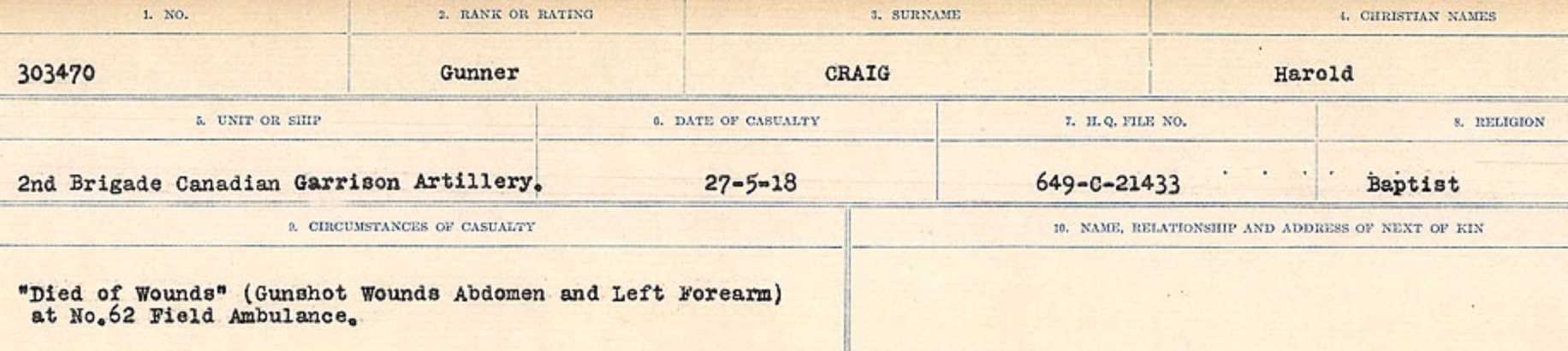 Circumstances of Death Registers– Source: Library and Archives Canada. CIRCUMSTANCES OF DEATH REGISTERS, FIRST WORLD WAR Surnames: CRABB TO CROSSLAND Microform Sequence 24; Volume Number 31829_B016733. Reference RG150, 1992-93/314, 168. Page 81 of 788.