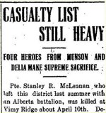 Newspaper Clipping– From the Munson Mail for 3 May 1917.