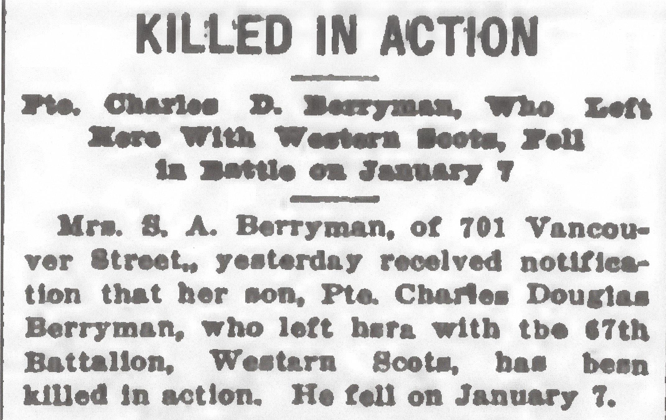 Newspaper clipping– From the Daily Colonist of January 20, 1917. Image taken from web address of http://archive.org/stream/dailycolonist59y35uvic#page/n0/mode/1up