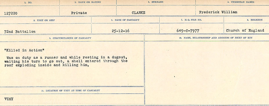 Circumstances of Death Registers– Source: Library and Archives Canada.  CIRCUMSTANCES OF DEATH REGISTERS, FIRST WORLD WAR Surnames:  CHILD TO CLAYTON.  Microform Sequence 20; Volume Number 31829_B016729. Reference RG150, 1992-93/314, 164.  Page 831 of 1068