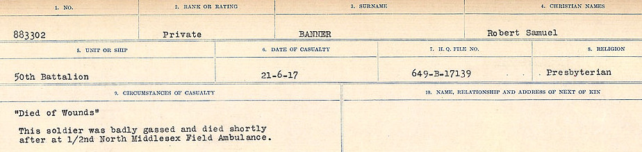 Circumstances of Death Registers– Source: Library and Archives Canada.  CIRCUMSTANCES OF DEATH REGISTERS, FIRST WORLD WAR Surnames:  Babb to Barjarow. Microform Sequence 5; Volume Number 31829_B016715. Reference RG150, 1992-93/314, 149.  Page 915 of 1072