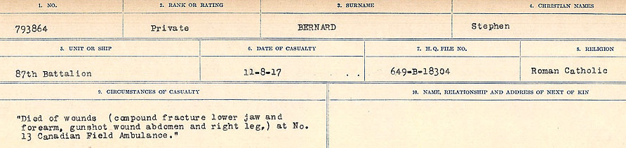 Circumstances of Death Registers– Source: Library and Archives Canada.  CIRCUMSTANCES OF DEATH REGISTERS FIRST WORLD WAR Surnames: Bernard to Binyon. Mircoform Sequence 9; Volume Number 31829_B016719; Reference RG150, 1992-93/314, 153 Page 27 of 652