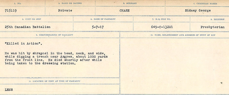 Circumstances of Death Registers– Source: Library and Archives Canada.  CIRCUMSTANCES OF DEATH REGISTERS, FIRST WORLD WAR Surnames:  Catchpole to Chignell. Microform Sequence 19; Volume Number 31829_B016728. Reference RG150, 1992-93/314, 165. Page 793 of 958.