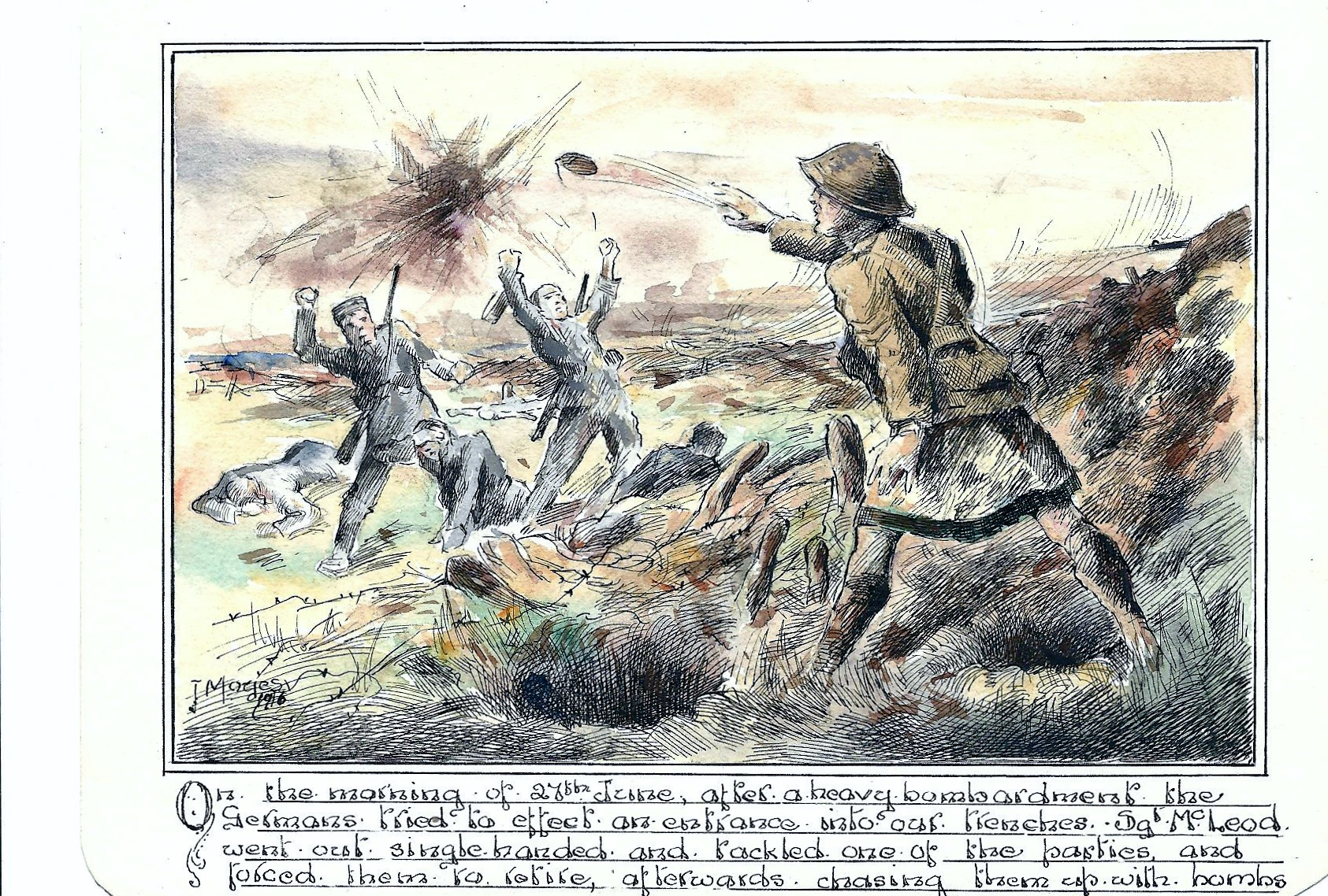 Sketch– From an orginal sketch by the artist J.Moyes depicting the action for which he received the Distinguished Conduct Medal