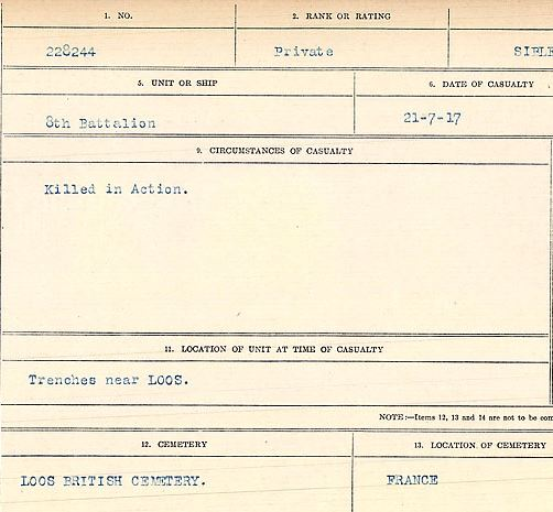 Circumstances of death registers– Private William Sibley