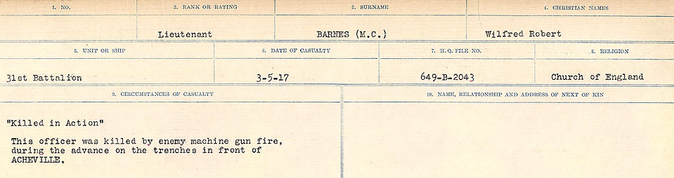 Circumstances of Death Registers– Source: Library and Archives Canada.  CIRCUMSTANCES OF DEATH REGISTERS, FIRST WORLD WAR Surnames:  Bark to Bazinet. Mircoform Sequence 6; Volume Number 31829_B016716. Reference RG150, 1992-93/314, 150.  Page 247 of 1058.