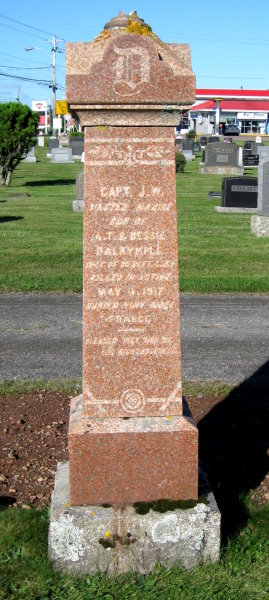 "Memorial– James Whitney Dalrymple shares a memorial stone with his parents in Robie Street Cemetery in Truro, Colchester, Nova Scotia. The memorial has him titled as a ""Captain"" which must refer to his rank as a master mariner in civilian life."