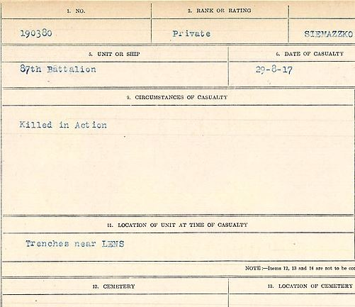 Circumstances of death registers– Private Kieryle Siemazzko