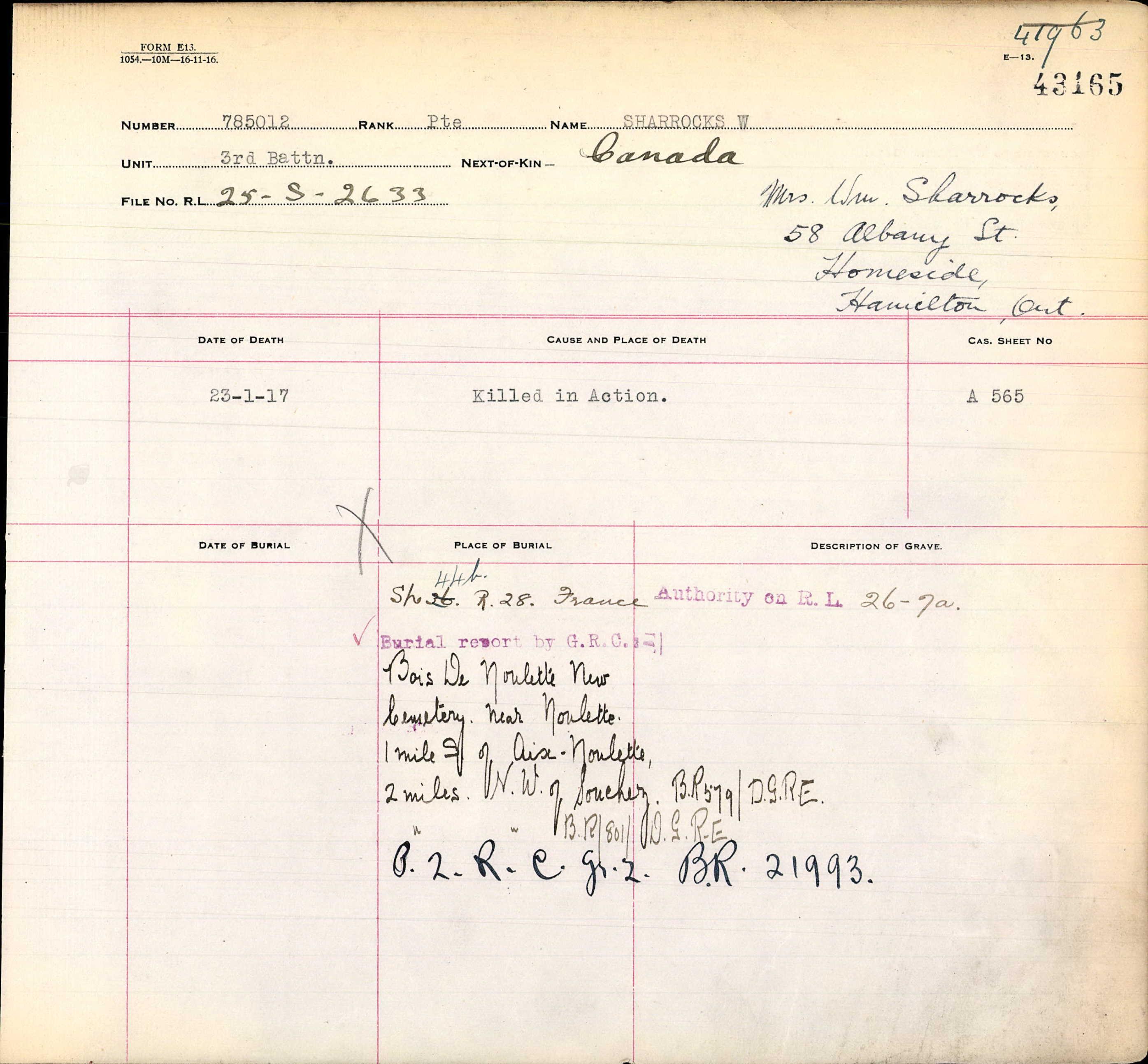 Grave Registration Report