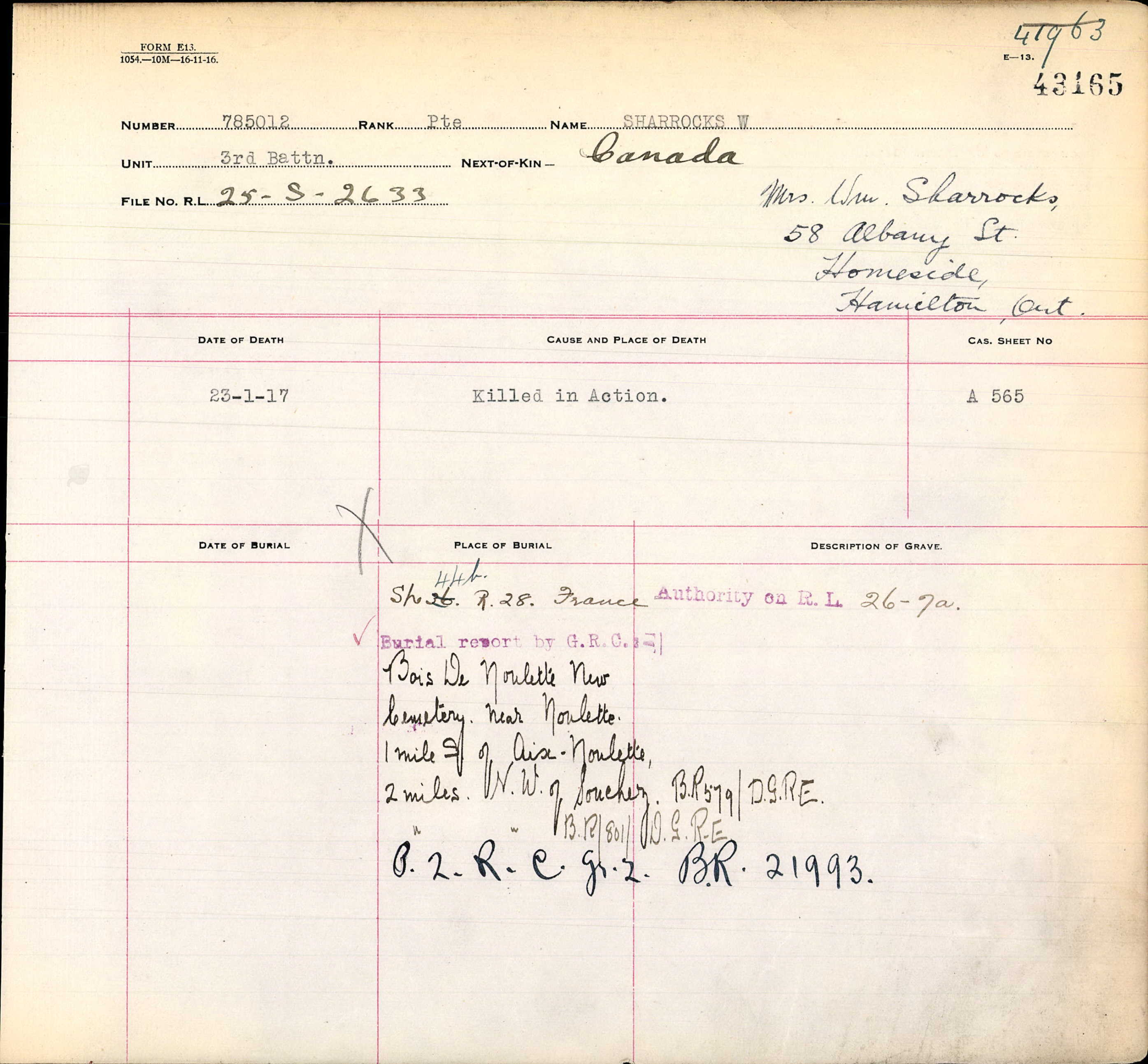 Grave Registration Report– William Sharrocks and his  Wife Ellen  Sharrocks + plus children , he was born in Milnrow, Rochdale, Manchester in 1885 died in 23rd Jan 1917  death of in France 2