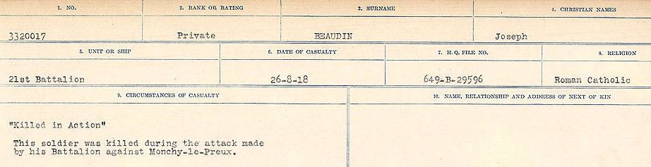 Circumstances of Death Registers– Source: Library and Archives Canada.  CIRCUMSTANCES OF DEATH REGISTERS FIRST WORLD WAR Surnames:  Bea to Belisle. Mircoform Sequence 7; Volume Number 31829_B016717. Reference RG150, 1992-93/314, 151.  Page 283 of 724.