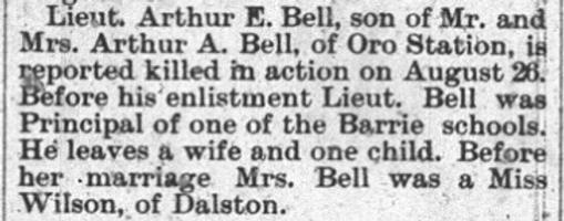 Newspaper clipping– Orillia Times, 05 Sep 1918