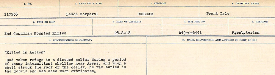 Circumstances of Death Registers– Source: Library and Archives Canada.  CIRCUMSTANCES OF DEATH REGISTERS, FIRST WORLD WAR Surnames:  CORBI TO COZNI.  Microform Sequence 23; Volume Number 31829_B016732. Reference RG150, 1992-93/314, 167.  Page 103 of 900.