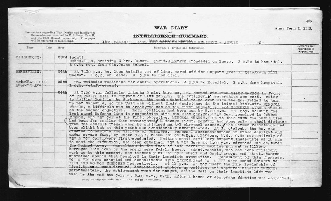 """War Diary– August 8, 1918 War Diary entry reads: """"Up to this time the casualties had been much smaller than anticipated although Lieut. McHardy had gone only a short distance from the Assault trench when he sustained mortal shrapnel wounds.""""  Contributed by E.Edwards www.18thbattalioncef.wordpress.com"""