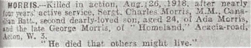 Newspaper clipping– Taken from the Daily Telegraph of September 19, 1918. Image taken from web address of https://www.telegraph.co.uk/news/ww1-archive/12215525/Daily-Telegraph-September-19-1918.html