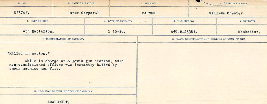 Circumstances of Death– Source: Library and Archives Canada.  CIRCUMSTANCES OF DEATH REGISTERS, FIRST WORLD WAR Surnames:  Bark to Bazinet. Mircoform Sequence 6; Volume Number 31829_B016716. Reference RG150, 1992-93/314, 150.  Page 255 of 1058.