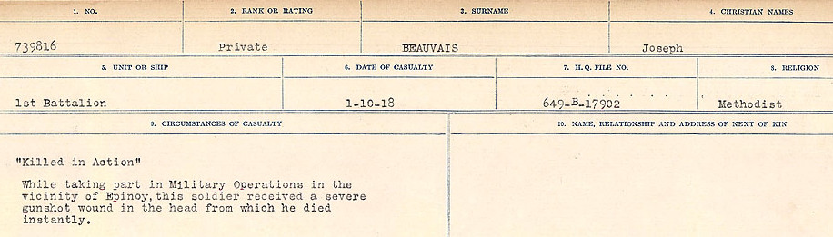 Circumstances of Death Registers– Source: Library and Archives Canada.  CIRCUMSTANCES OF DEATH REGISTERS FIRST WORLD WAR Surnames:  Bea to Belisle. Mircoform Sequence 7; Volume Number 31829_B016717. Reference RG150, 1992-93/314, 151.  Page 355 of 724.