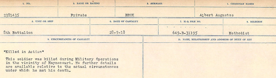 Circumstances of Death Registers– Source: Library and Archives Canada.  CIRCUMSTANCES OF DEATH REGISTERS FIRST WORLD WAR Surnames:  Bea to Belisle. Mircoform Sequence 7; Volume Number 31829_B016717. Reference RG150, 1992-93/314, 151.  Page 387 of 724.