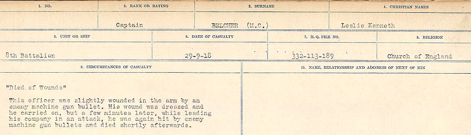 Circumstances of Death Registers– Source: Library and Archives Canada.  CIRCUMSTANCES OF DEATH REGISTERS FIRST WORLD WAR Surnames:  Bea to Belisle. Mircoform Sequence 7; Volume Number 31829_B016717. Reference RG150, 1992-93/314, 151.  Page 671 of 724.