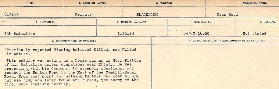 Circumstances of Death Registers– Source: Library and Archives Canada.  CIRCUMSTANCES OF DEATH REGISTERS FIRST WORLD WAR Surnames: Birch to Blakstad. Mircoform Sequence 10; Volume Number 31829_B034746; Reference RG150, 1992-93/314, 154 Page 495 of 734