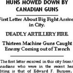 Newspaper Clipping– Letter from Lt. Edward F. Burgess.  Lt. Burgess indicates that he was wounded on June 4th.  The Canadians were among those who fought in the Battle of Mt. Sorrel, June 2-13, 1916.