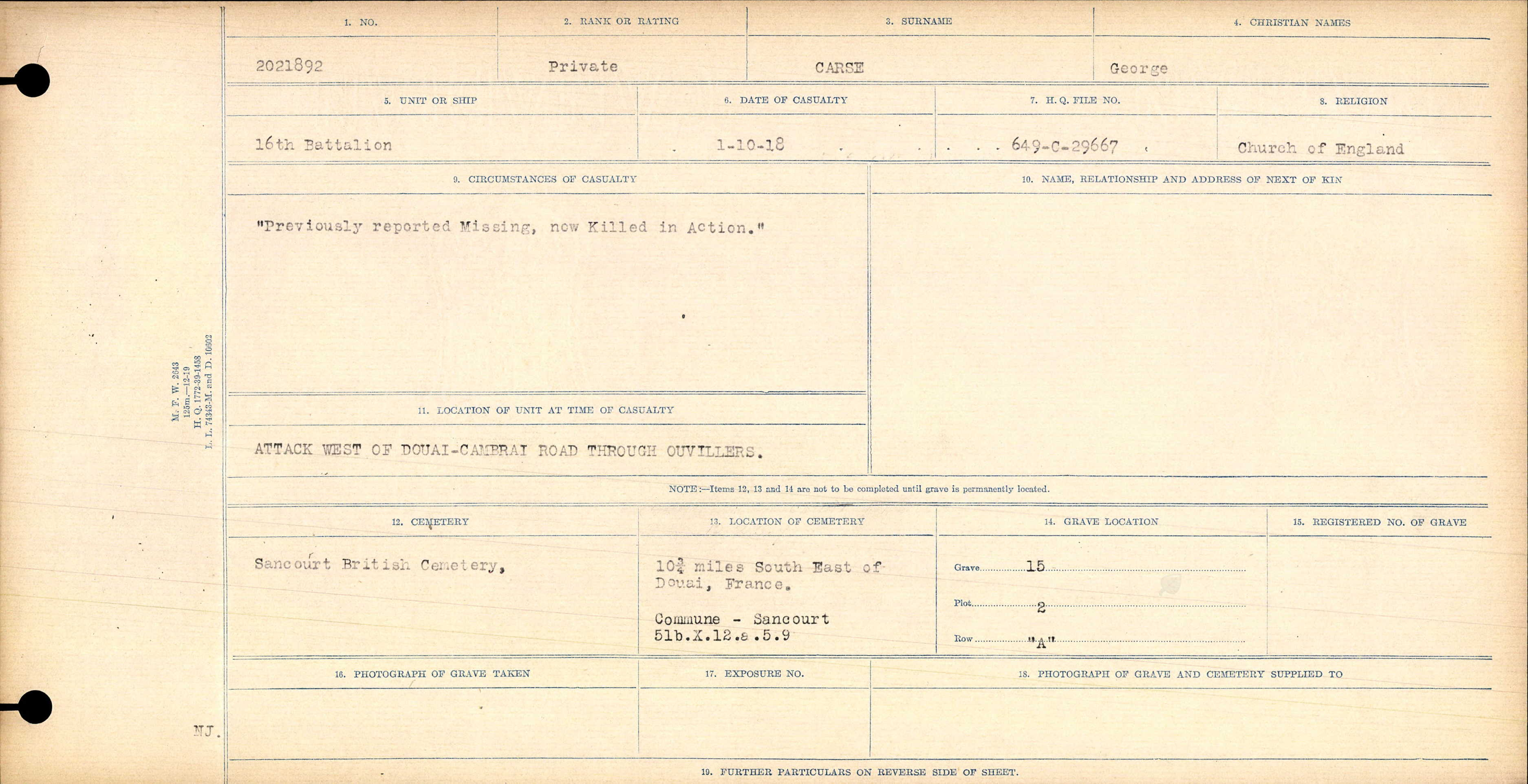 Circumstances of Death Registers– Source: Library and Archives Canada.  CIRCUMSTANCES OF DEATH REGISTERS, FIRST WORLD WAR Surnames:  Canavan to Caswell. Microform Sequence 18; Volume Number 31829_B016727. Reference RG150, 1992-93/314, 162.  Page 575 of 1004.