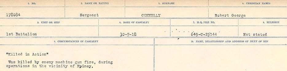 Circumstances of Death Registers– Source: Library and Archives Canada.  CIRCUMSTANCES OF DEATH REGISTERS, FIRST WORLD WAR Surnames:  CLEAL TO CONNOLLY.  Microform Sequence 21; Volume Number 31829_B016730. Reference RG150, 1992-93/314, 165.  Page 1329 of 1384.