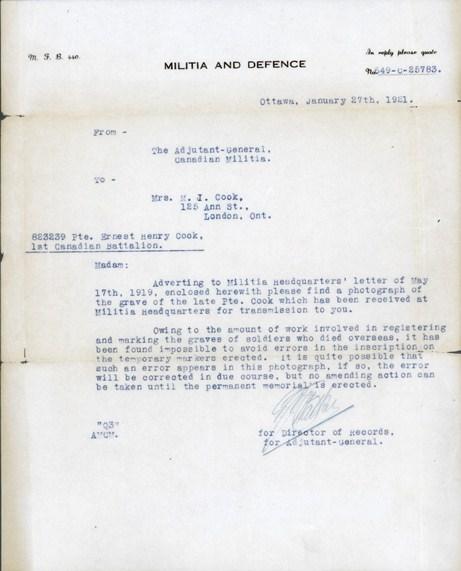 Letter– Pte E Cook Grave Marker Letter from The Adjutant - General, Canadian Militia.