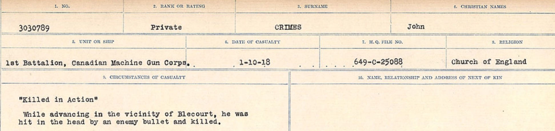 Circumstances of death registers– Source: Library and Archives Canada. CIRCUMSTANCES OF DEATH REGISTERS, FIRST WORLD WAR Surnames: CRABB TO CROSSLAND Microform Sequence 24; Volume Number 31829_B016733. Reference RG150, 1992-93/314, 168. Page 521 of 788.