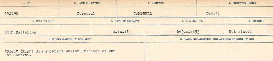 Circumstances of Death Registers– Source: Library and Archives Canada.  CIRCUMSTANCES OF DEATH REGISTERS, FIRST WORLD WAR Surnames:  Cabana to Campling. Microform Sequence 17; Volume Number 31829_B016726. Reference RG150, 1992-93/314, 161.  Page 603 of 1024