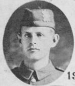 """Photo of Theodore Racicot– Photo taken from """"A Short History and Photographic Record of the 73rd Battalion, Canadian Expeditionary Force, Royal Highlanders of Canada"""".  Page 16.  'A' COMPANY No 3 Platoon"""