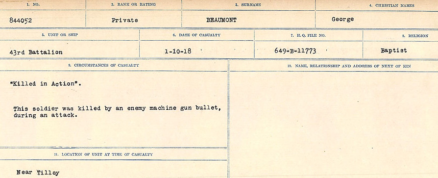 Circumstances of Death Registers– Source: Library and Archives Canada.  CIRCUMSTANCES OF DEATH REGISTERS FIRST WORLD WAR Surnames:  Bea to Belisle. Mircoform Sequence 7; Volume Number 31829_B016717. Reference RG150, 1992-93/314, 151.  Page 317 of 724.
