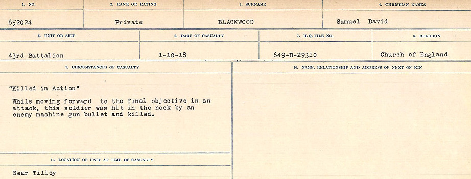 Circumstances of Death Registers– Source: Library and Archives Canada.  CIRCUMSTANCES OF DEATH REGISTERS FIRST WORLD WAR Surnames: Birch to Blakstad. Mircoform Sequence 10; Volume Number 31829_B034746; Reference RG150, 1992-93/314, 154 Page 555 of 734