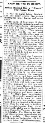 Newspaper Clipping– this article appeared in the ORILLIA TIMES, Thurs. Feb. 20,1919. It is an account of Pte. Herring's day when his comrade Pte. Heron died.