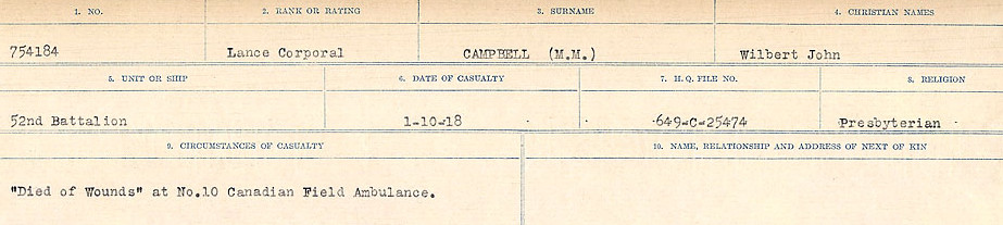 Circumstances of Death Registers– Source: Library and Archives Canada.  CIRCUMSTANCES OF DEATH REGISTERS, FIRST WORLD WAR Surnames:  Cabana to Campling. Microform Sequence 17; Volume Number 31829_B016726. Reference RG150, 1992-93/314, 161.  Page 975 of 1024