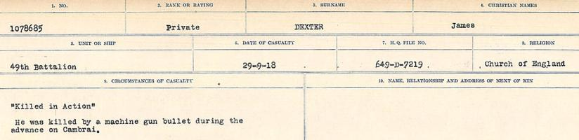 Circumstances of death registers– Source: Library and Archives Canada. CIRCUMSTANCES OF DEATH REGISTERS, FIRST WORLD WAR. Surnames: Deuel to Domoney. Microform Sequence 28; Volume Number 31829_B016737. Reference RG150, 1992-93/314, 172. Page 187 of 1084.