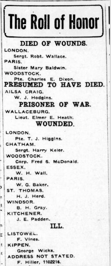Newspaper clipping– From the London Free Press June 1918. Submitted for the project Operation Picture Me