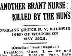 Coupre de presse – Tiré du Globe (Toronto) du 4 Juin 1918, page 3.