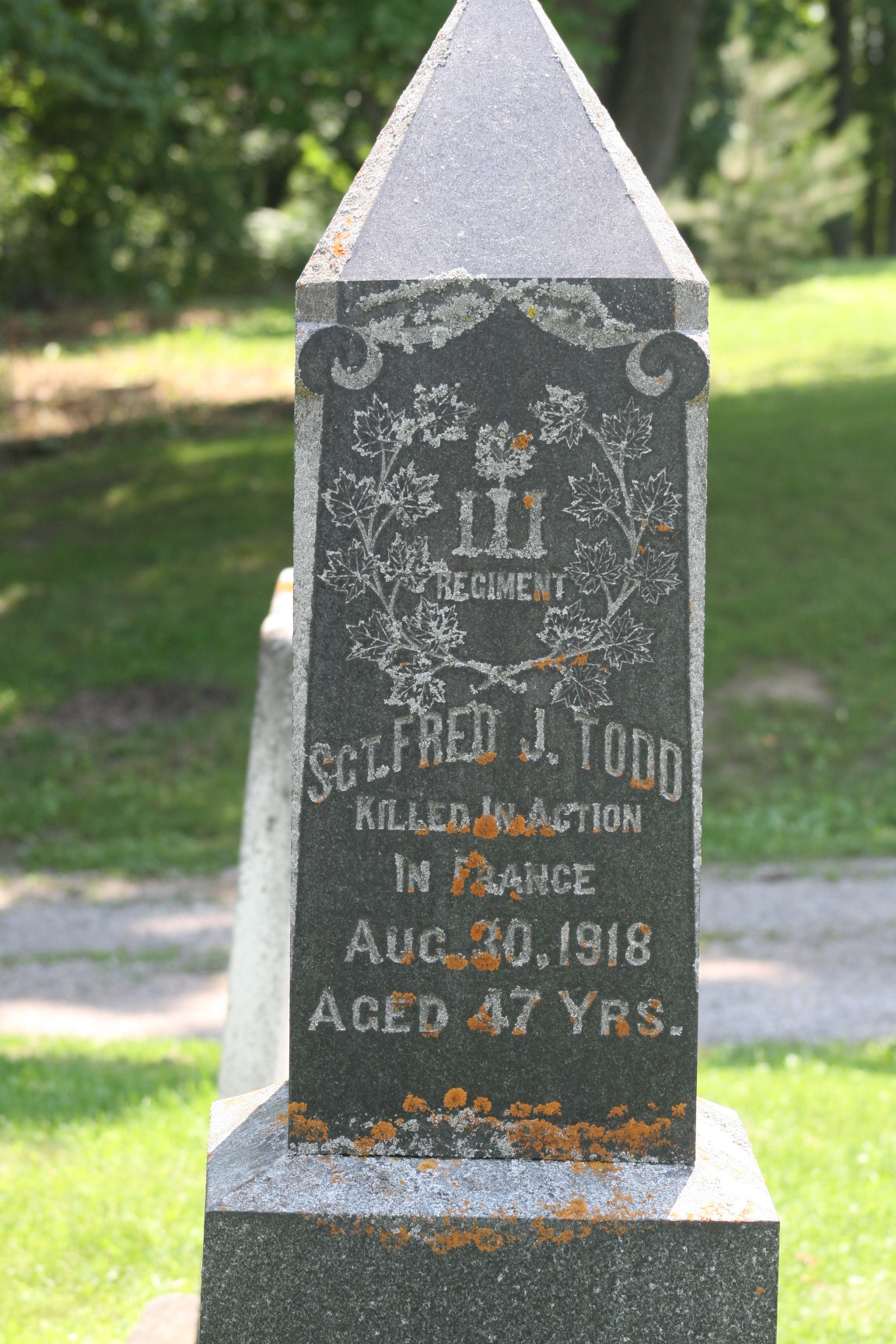 Memorial– Grave marker in Town of St. Mary's Cemetery.  St. Mary's Ontario