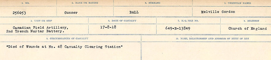 Circumstances of Death Registers– Source: Library and Archives Canada.  CIRCUMSTANCES OF DEATH REGISTERS, FIRST WORLD WAR Surnames:  Babb to Barjarow. Microform Sequence 5; Volume Number 31829_B016715. Reference RG150, 1992-93/314, 149.  Page 725 of 1072.