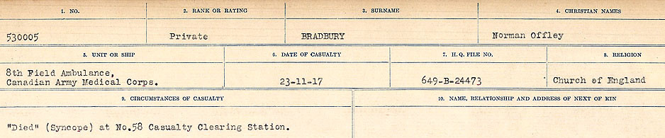 Circumstances of Death Registers– Source: Library and Archives Canada.  CIRCUMSTANCES OF DEATH REGISTERS FIRST WORLD WAR Surnames: Brabant to Britton. Mircoform Sequence 13; Volume Number 131829_B016722; Reference RG150, 1992-93/314, 156 Page 65 of 906.
