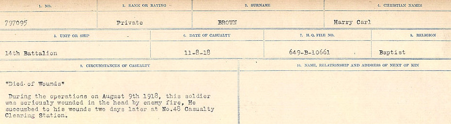 Circumstances of Death Registers– Source: Library and Archives Canada.  CIRCUMSTANCES OF DEATH REGISTERS FIRST WORLD WAR Surnames: Broad to Broyak. Mircoform Sequence 14; Volume Number 31829_B016723; Reference RG150, 1992-93/314, 158 Page 637 of 1128