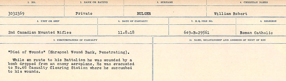 Circumstances of Death Registers– Source: Library and Archives Canada.  CIRCUMSTANCES OF DEATH REGISTERS FIRST WORLD WAR Surnames: Brubacher to Bunyan. Mircoform Sequence 15; Volume Number 31829_B016724; Reference RG150, 1992-93/314, 159 Page 505 of 668