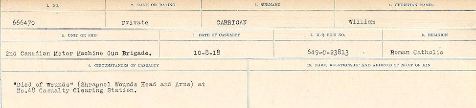 Circumstances of Death Registers– Source: Library and Archives Canada.  CIRCUMSTANCES OF DEATH REGISTERS, FIRST WORLD WAR Surnames:  Canavan to Caswell. Microform Sequence 18; Volume Number 31829_B016727. Reference RG150, 1992-93/314, 162.  Page 491 of 1004.