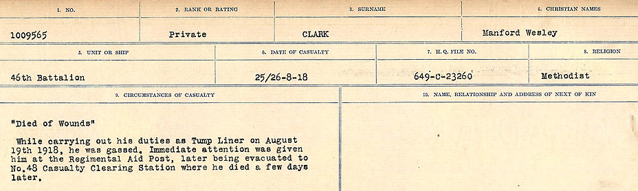 Circumstances of Death Registers– Source: Library and Archives Canada.  CIRCUMSTANCES OF DEATH REGISTERS, FIRST WORLD WAR Surnames:  CHILD TO CLAYTON.  Microform Sequence 20; Volume Number 31829_B016729. Reference RG150, 1992-93/314, 164.  Page 657 of 1068.